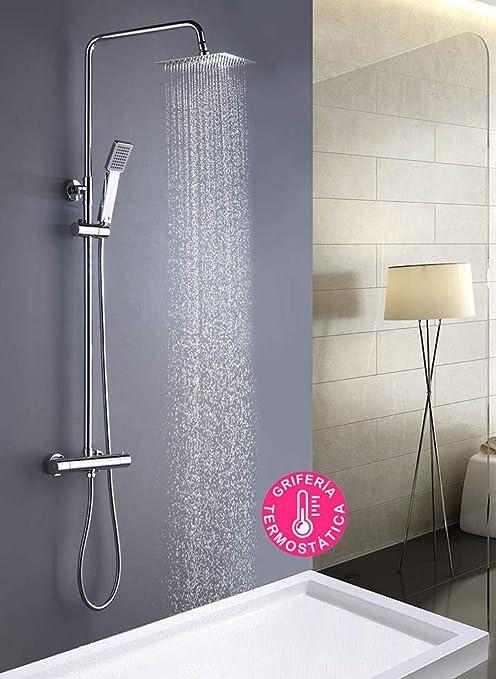 Columna de ducha extralarga MOL con grifo termostático y tubo ...