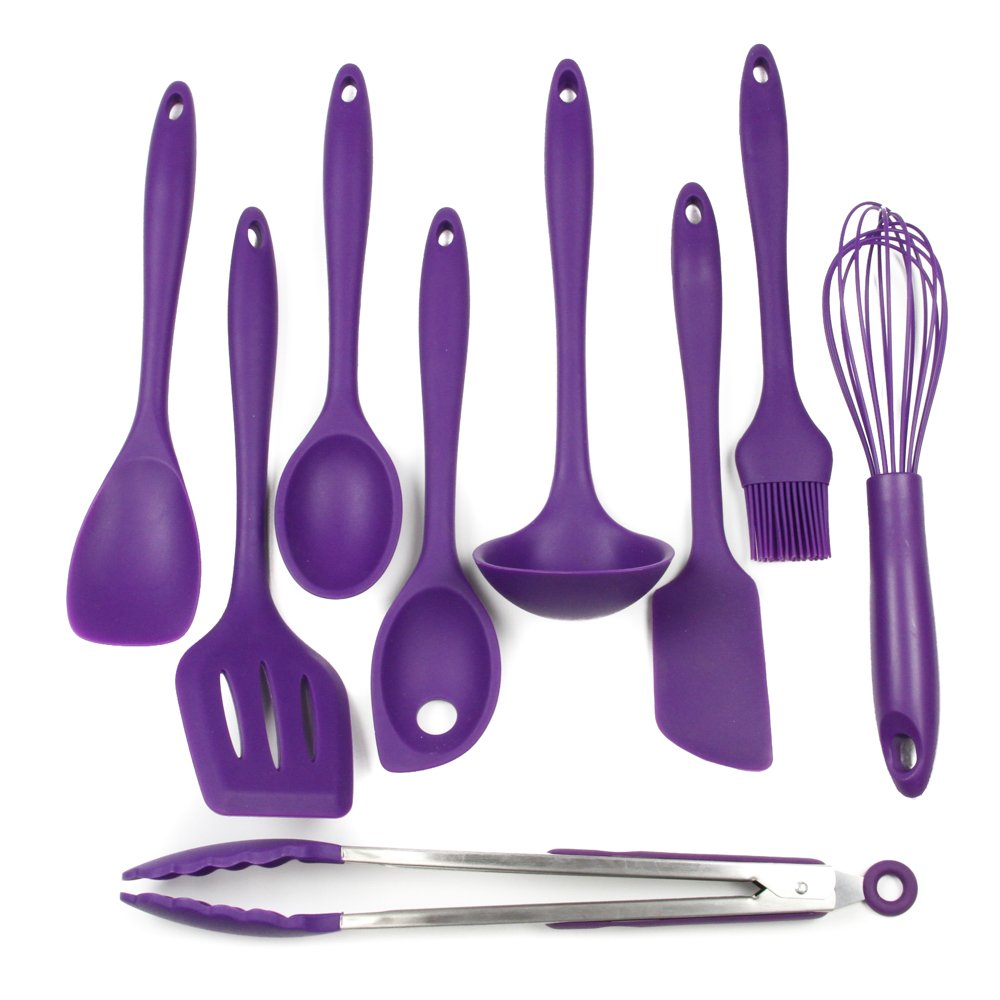 Chef Craft 9 Piece Silicone Kitchen Tool and Utensil Set, Purple by Chef Craft