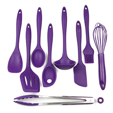 Chef Craft 9 Piece Silicone Kitchen Tool and Utensil Set, Purple