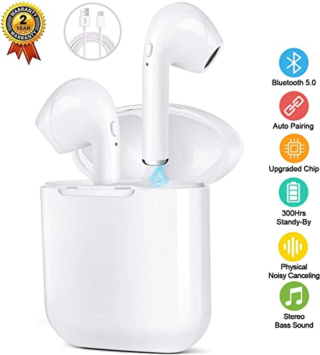 V5.0 in-Ear Bluetooth Earphones Built-in Mic 2020 upgrade Bluetooth Headphones Wireless Earphones IPX5 Wireless Earbuds Headphones with 3D Sound Stereo for All Bluetooth Device