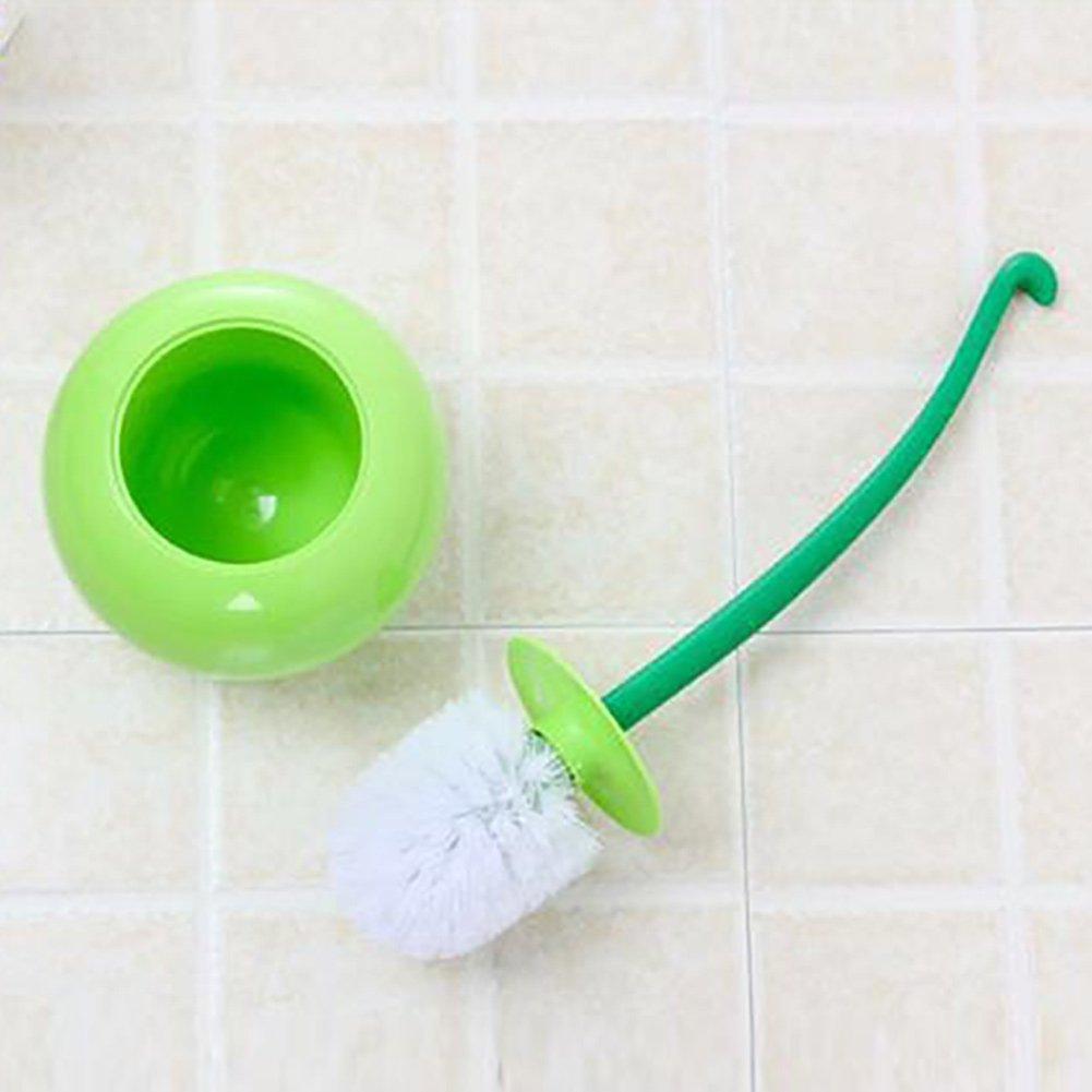 Juego de escobillas para inodoro juego de escobillas de ba/ño y soporte juego de cepillos de ba/ño de limpieza port/átil 38 cm verde creativo y bonito dise/ño de cereza