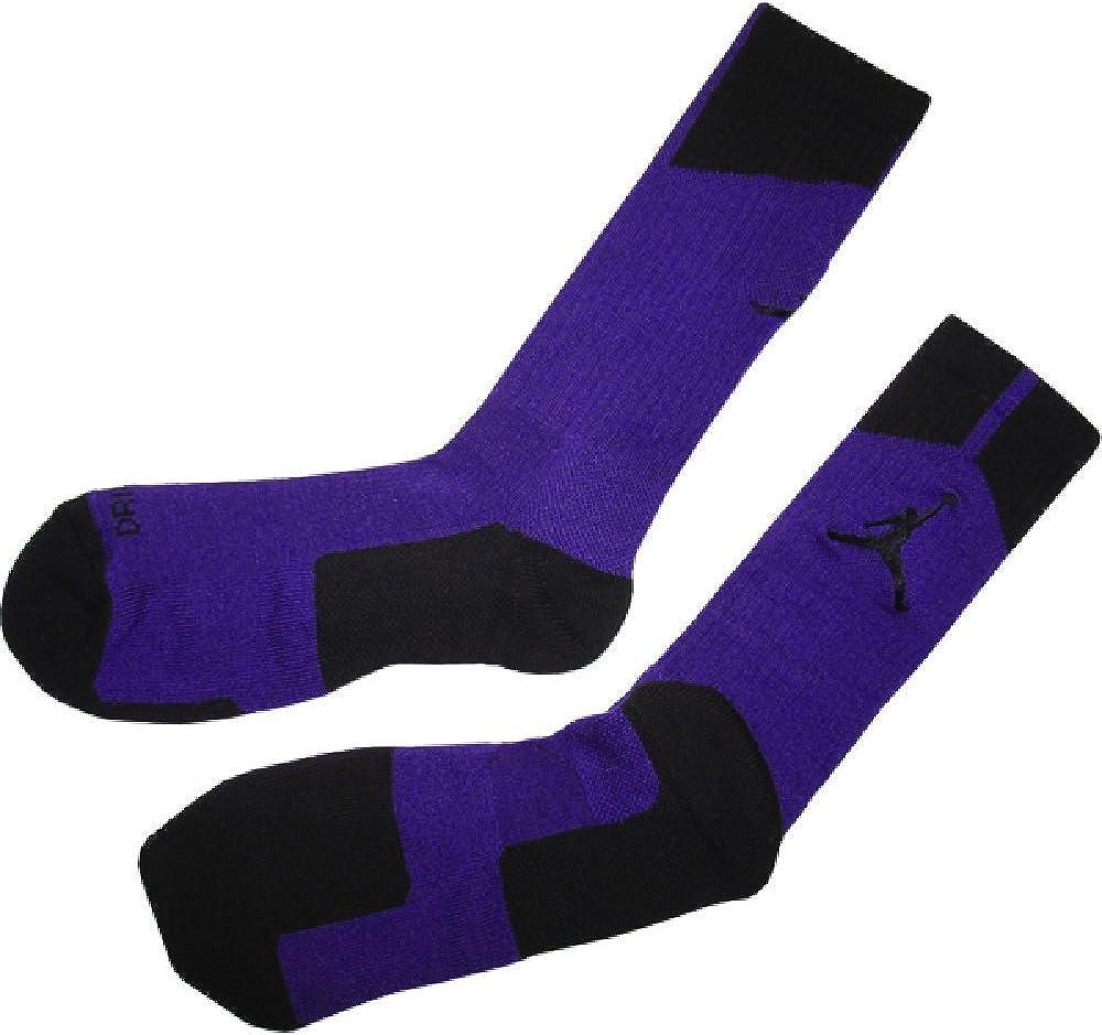 heredar Nueva llegada implícito  Amazon.com: NIKE AIR JORDAN MEN'S DRI-FIT CREW BASKETBALL SOCKS - PURPLE  BLACK L(8-12): Clothing