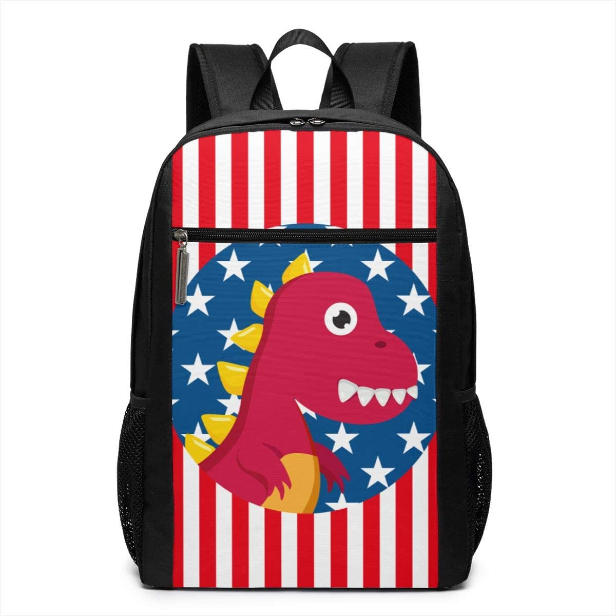 XTYND556 Dinosaurs Us Flag College Commuter Backpack Large Capacity Laptop Bag 17 Inch Travel Bag
