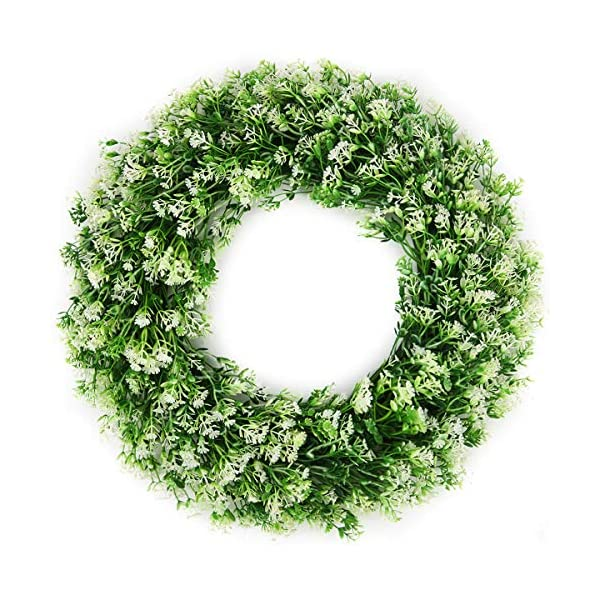 BOMAROLAN Artificial Babys Breath Wreath 18 Inch Adjustable Stems Wreath Summer Fall Large Wreaths Springtime All Year Around Flower Green Leaves for Outdoor Front Door Indoor Wall Or Window Decor