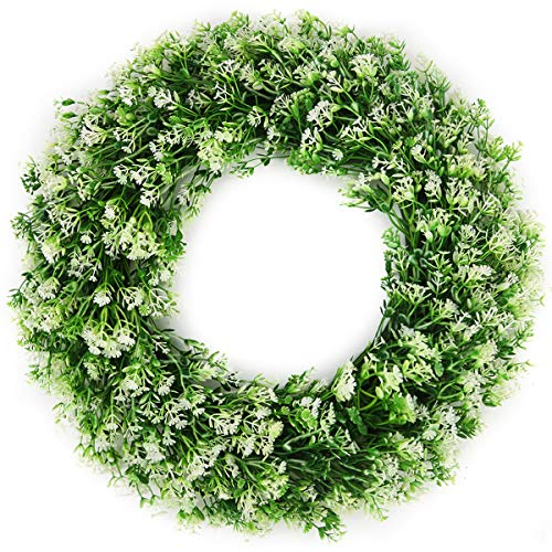 BOMAROLAN Artificial Babys Breath Wreath 18 Inch Adjustable Stems Wreath Summer Fall Large Wreaths Springtime All Year Around Flower Green Leaves for Outdoor Front Door Indoor Wall Or Window Decor (Front Above Decor Door)