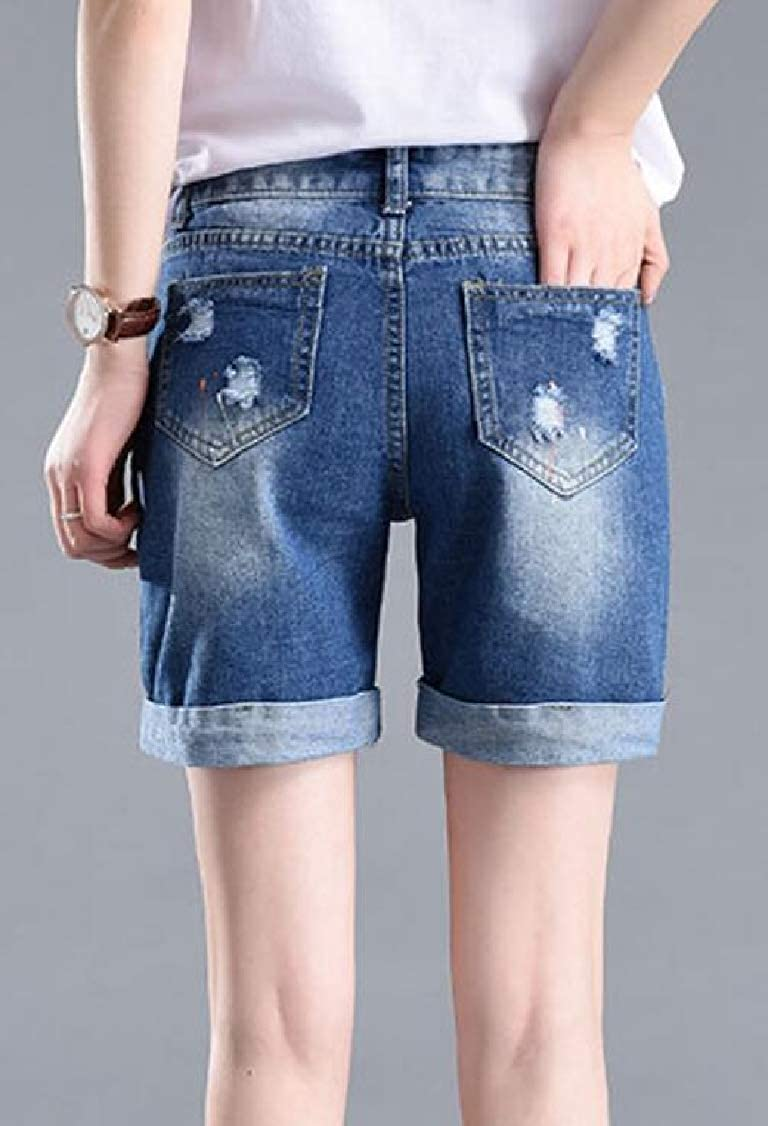 OTW Women Stretchy High Waist Folded Hem Ripped Hole Denim Jeans Shorts