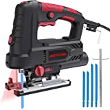 Jigsaw, Meterk Upgraded 800W 6.7 Amp 3000 SPM Jig Saw with Laser Guide & LED, 6 Variable Speed, 4PCS T-Shank Saw Blades…