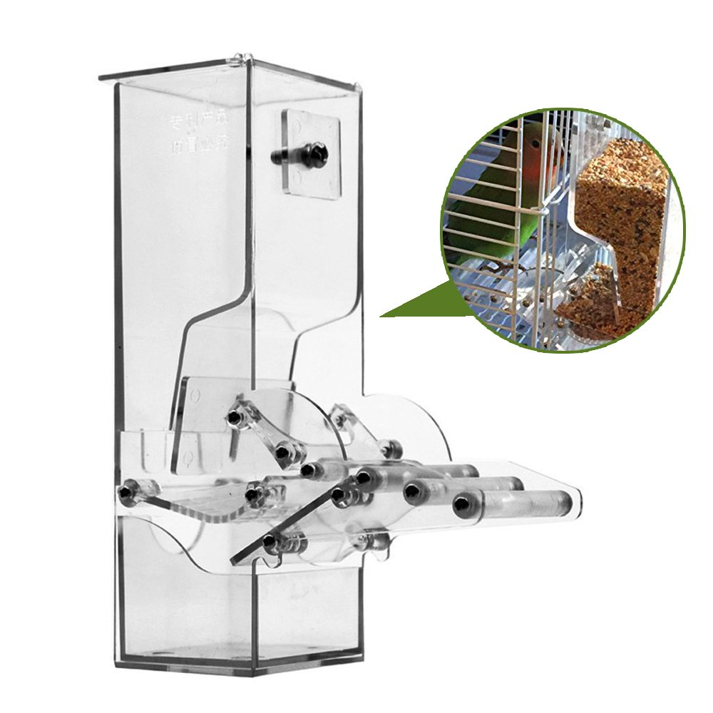 Qukueoy No Split Bird Seed Feeder for Cage,Parrot Automatic Foraging Systems Food Feeding Station, with Perch,Heavty Acrylic,One-Step Moulding by Qukueoy