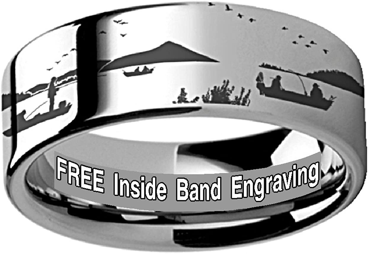 Thorsten BASS Fish Jumping Lake Stream Sport Fish Print Pattern Flat Tungsten Ring 4mm Wide Wedding Band from Roy Rose Jewelry