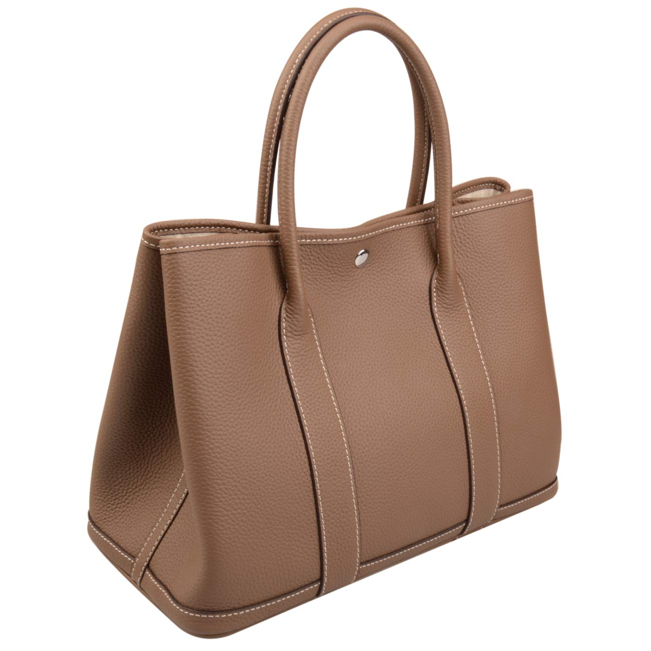Ainifeel Women's Genuine Leather Top Handle Handbag Shopping Bag Tote Bag (Khaki)