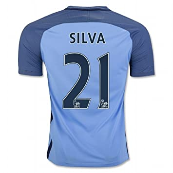 f39811040 2016 2017 Manchester City FC 21 David Silva Home Football Soccer Jersey In  Blue For New Season  Amazon.co.uk  Sports   Outdoors