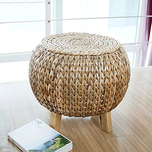 YQ WHJB Rattan Ottoman,Round Foot Stools,Sofa Bench Hand-Woven Stepping Stool Change Shoe Bench-4 Wooden Legs-A (Stool Seagrass)