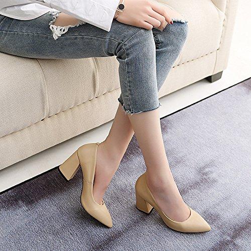 Frühling, Sommer und Tipp dick mit high-heeled Tipp und Obermaterial Leder Licht singles Schuhe der Frauen apricot cada7b