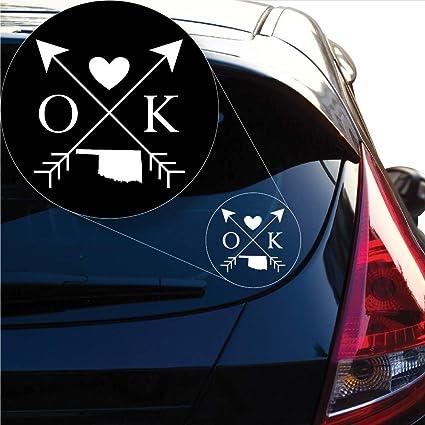 Oklahoma Love Cross Arrow State OK Decal Sticker for Car Window Laptop # 1101