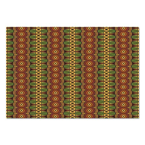 Funky Wall Mural Sticker [ African,Abstract Tribal Motifs Vertical Ethnic Borders Folkloric Hippie Antique Decorative,Green Brown Yellow ] Self-adhesive Vinyl Wallpaper / Removable Modern Decorating W]()