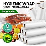 Vacuum Food Sealer Roll Bags Saver Seal Storage Heat 6m x 28cm (8 Pack)