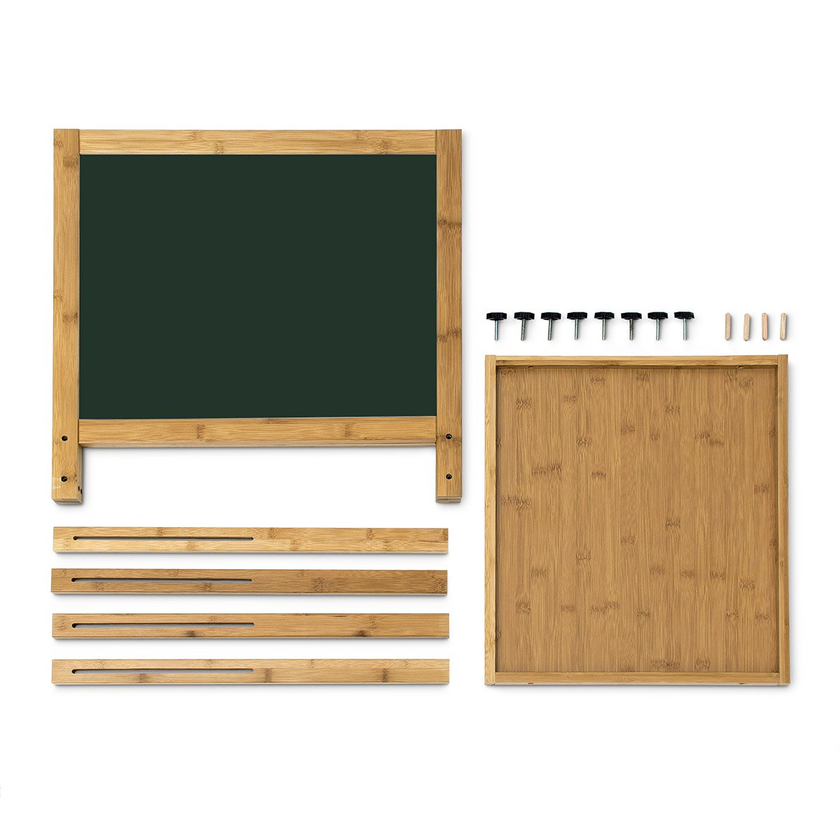 Relaxdays Bamboo Magnetic Blackboard Children's Chalk Board Height Adjustable Whiteboard (93x56.5cm) Dry Erase Board Painting Table Free-Standing Board, Green by Relaxdays
