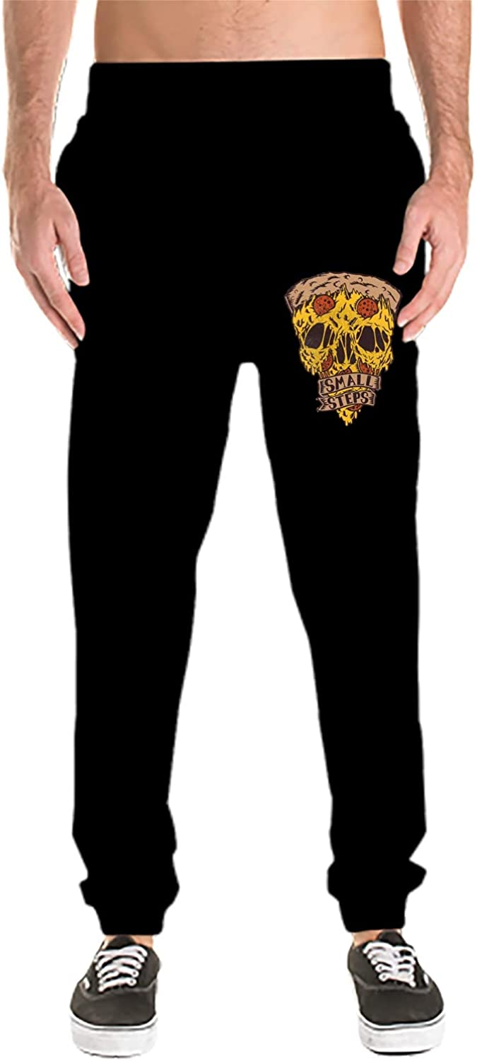 XPNiao Mens Joggers Pizza Skull Sweatpants Active Sports Running Workout Pant with Pockets
