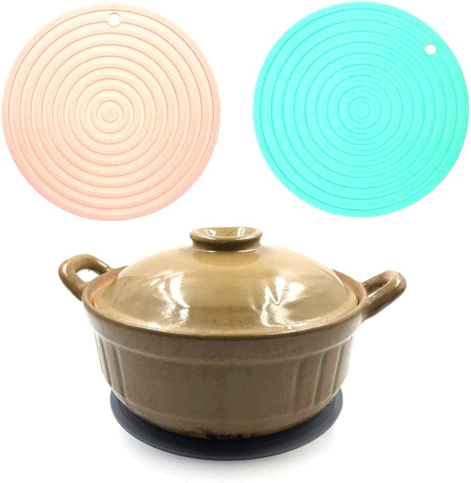 Hemoton Trivet Mat Round Hot Pads Silicone Hot Pads Non-Slip Heat Resistant Insulation Pot Holders Multifuntion Tool for Kitchen Kitchen Restaurant Dinner Table Green