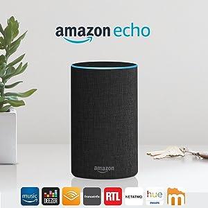 Amazon Echo (2ème génération), Enceinte connectée avec Alexa, Tissu anthracite