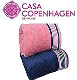 Casa Copenhagen 500 GSM 2 Pieces Large (70 cm x 140 cm) Cotton Bath Towel Set - Victorian Pink and Majestic Blue- Pack of 2 Brand: Casa Copenhagen