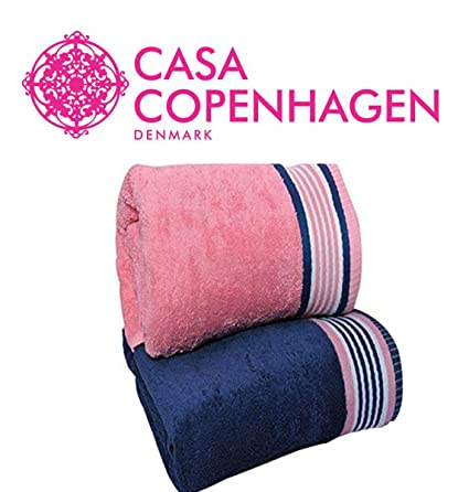 Casa Copenhagen 500 GSM His and Her 2 Pieces Large (70 cm x 140 cm) Premium Cotton Bath Towel Set - Victorian Pink and Majestic Blue- Pack of 2