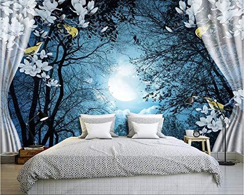 3D Wallpaper Non-Woven Premium Wallpaperwall Papers Home Decor Quiet Moonlight Night Desktop Wallpaper Hd 3D Wall Paper Bedroom Decor,200Cmx140Cm