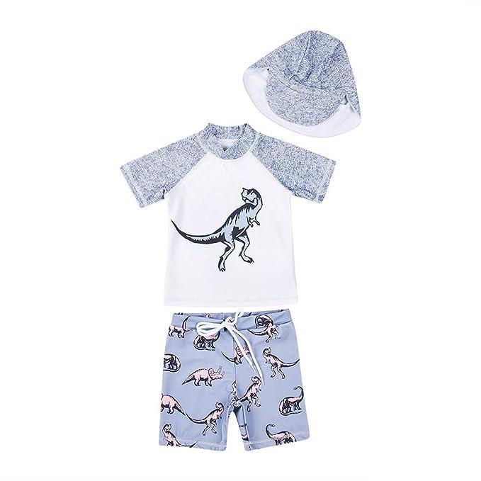 388389666f Boy Swimsuits,2 Piece Set Swimwear Dinosaur Bathing Suit Quick Dry Wetsuit  for Kids 1