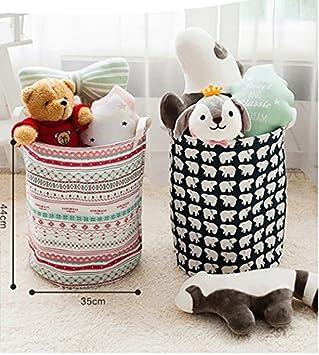 SFGHOUSE W/äschekorb aus Baumwollleinen mit Griffen W/äschekorb Spielzeug Organizer Kleiderst/änder mit Deckel Aa