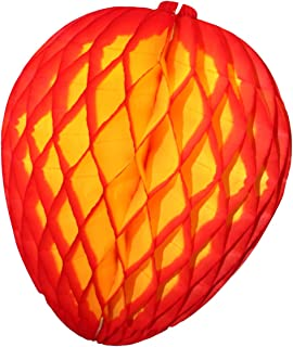 product image for 3-Pack 14 Inch Honeycomb Tissue Paper Mango Fruit Party Decoration (Red Edge)