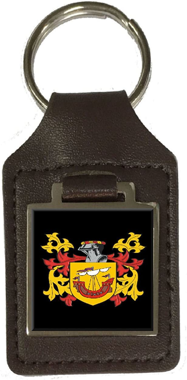 Usher Heraldry Surname Coat Of Arms Brown Leather Keyring Engraved