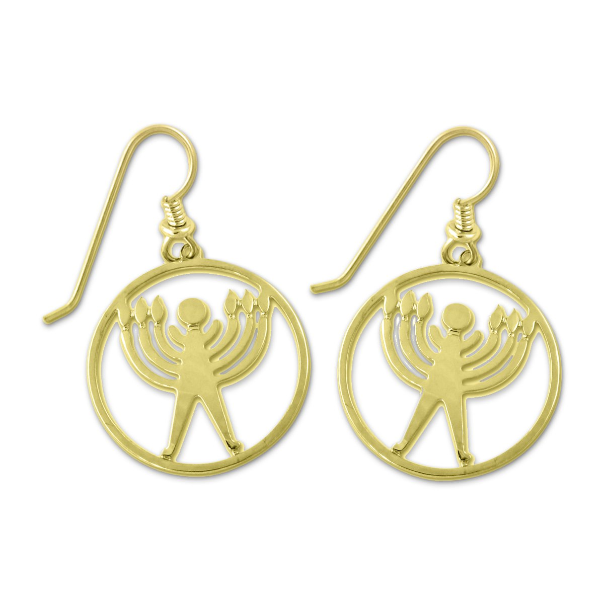 Jewish Humanist Symbol Gold Earrings 3//4 Diameter