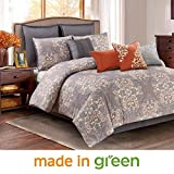 Wonder Home 10-pc. Luxury Grey Comforter Set, Oversized & Overfilled Designer Style Bedding Set for Guest Room Decor, Timeless Design, King, 106'' x 96''