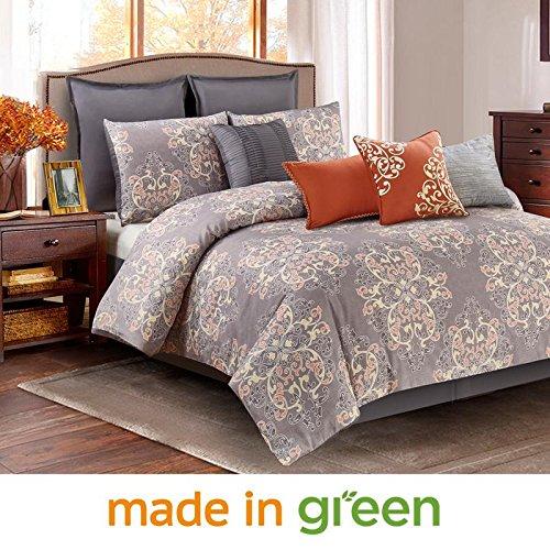 Wonder Home 10-pc. Luxury Designer Style Comforter Set, Oversized & Overfilled Grey Bedding Set for Bedroom Decor, Timeless Design, Queen, 92″ x 96″