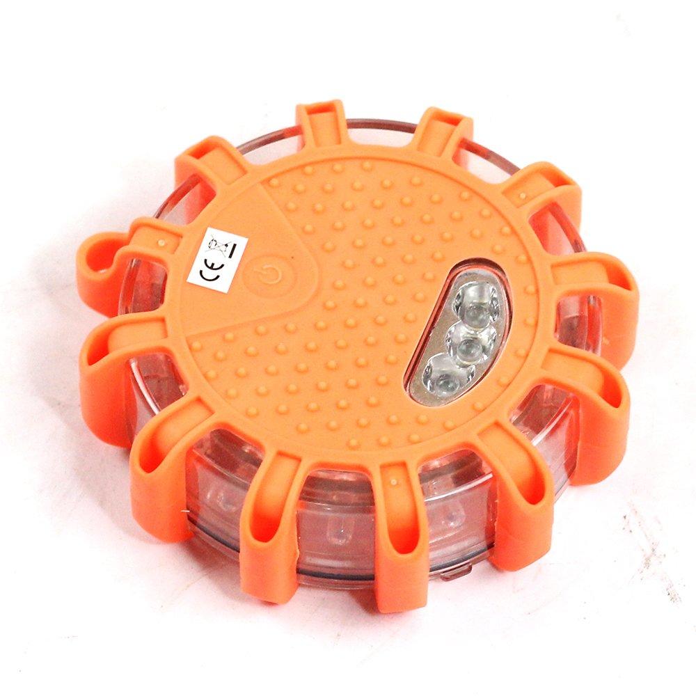 Orange Balise de signalisation lumineuse LED avec base magn/étique