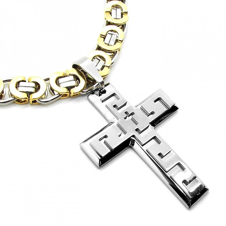 67f466fc592d ... hombre collar colgante cruz crucifijo de terciopelo. 70% OFF  Panzerkette plata cadena de eslabones cadena Diámetro 10 mm 60 cm acero  inoxidable