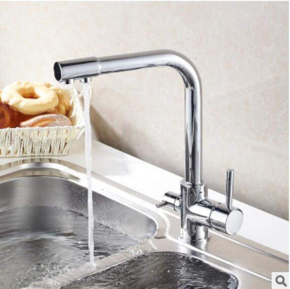 Chrome Kai&Guo Antique Kitchen Faucet Deck Mount Mixer Tap 360 Degree redation with Water Purification Features Single Hole Crane For Kitchen,chrome
