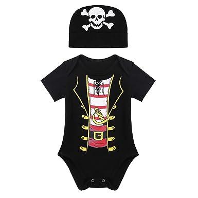 iEFiEL Disfraz de Pirata Bebé Pelele con Gorro para Halloween Cosplay Mameluco Romper Negro(0-24 Meses) Negro 18-24 Meses: Amazon.es: Ropa y accesorios
