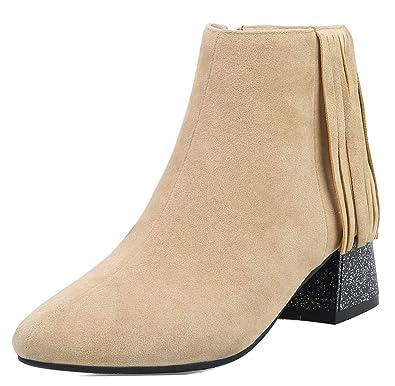 Easemax Femme Mignon Bout Carré Franges Chaussure Montante Bottines Abricot  32 EU 74ef958cb338