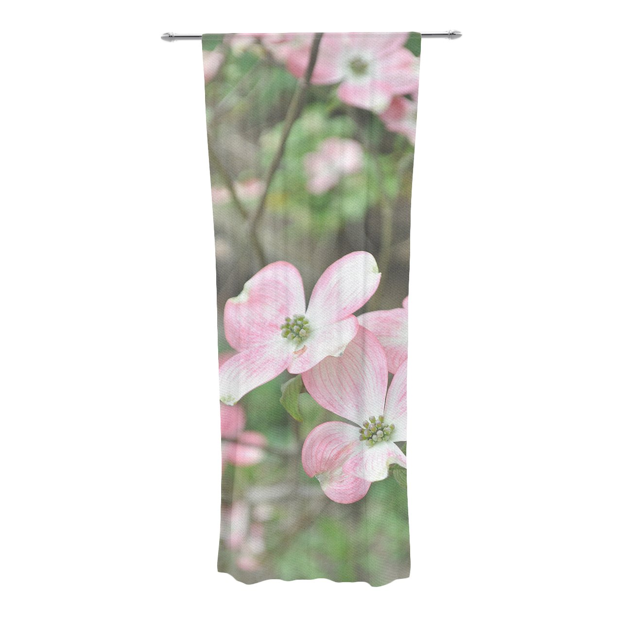 30 x 84 Sheer Curtains Kess InHouse Jennifer Rizzo Spring Flowering Dogwood Pink Green Decorative Set
