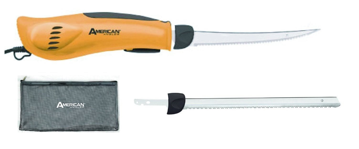 American Angler Premium Electric Fillet Knife w/ 8 and 10 inch Serrated Blades - 110 Volts