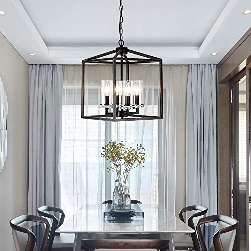 Industrial Metal Modern Lanten Chandelier Lighting Fixture 4 Clear Glass Shades for Dining Room, Kitchen, Living Room