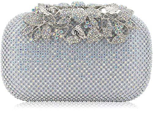 Dexmay Luxury Flower Women Clutch Purse for Wedding Party Rhinestone Crystal Evening Bag AB Silver
