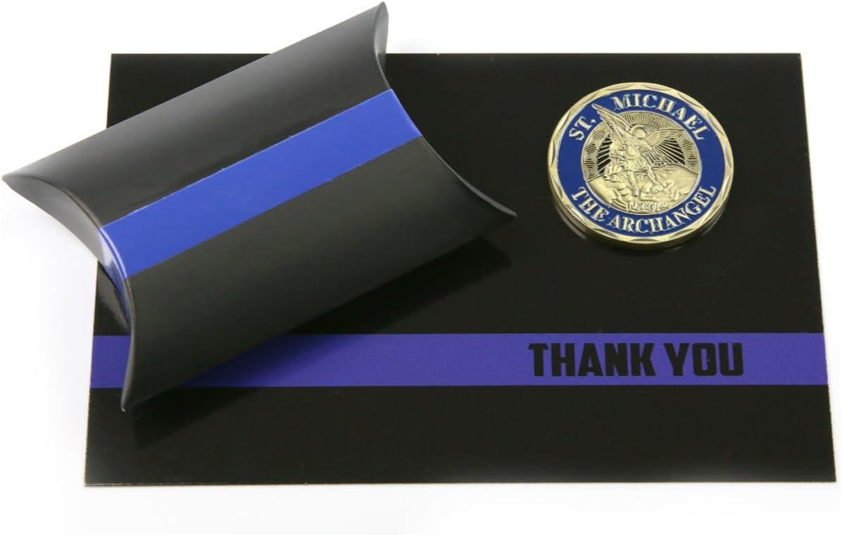 Armed American Supply Delgada línea Azul Policía Oficial Apoyo Set de Regalo St. Michael Challenge Coin & Gracias Tarjeta: Amazon.es: Hogar