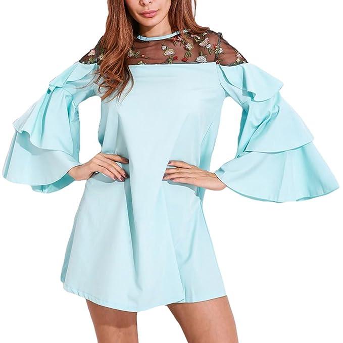 Mxssi Vestidos Tallas Grandes Cuello Redondo Manga Larga Blusas Vestido Suelto Bordado Flores Sexy Ver Través