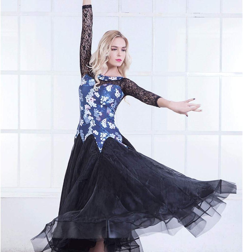 JTSYUXN Vestito Moderno Danzante delle Donne Vestito da Ballo for Adulti Waltz Vestiti di Prestazione Lace Maniche Lunghe Cuciture Costume Formazione Pratica Gonna