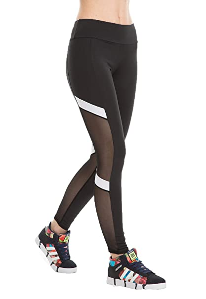 3552b2d3f6e3e2 Yomsong Women's High Waist Workout Leggings Contrast Color Splicing Mesh  Sports Pants, Black, ...