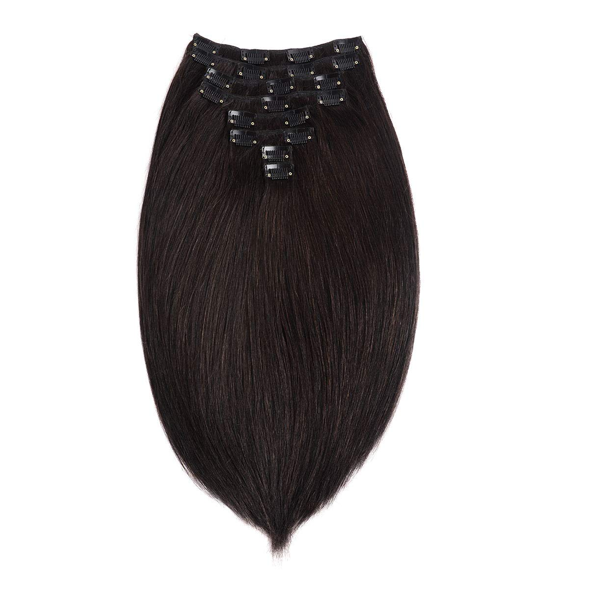 Clip in Hair Extensions for Black Women Double Weft Hair Extensions Remy Human Hair Clip on Hair Extensions Grade 8A Full Head Soft Silky Straight Remy Clip In 8pcs 20clips Off Jet Black 18 Inch by Lovrosie