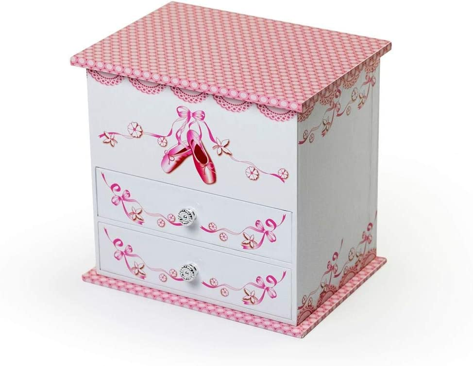 Decorative White and Pink Spinning Ballerina Musical Jewelry Box - Angel by Mele & Co. - Many Songs to Choose - Hark! The Herald Angels Sing