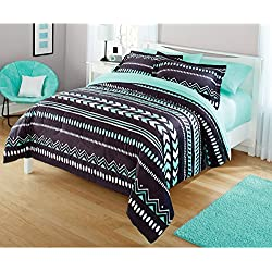 Your Zone Mint Grey Tribal Comforter Set